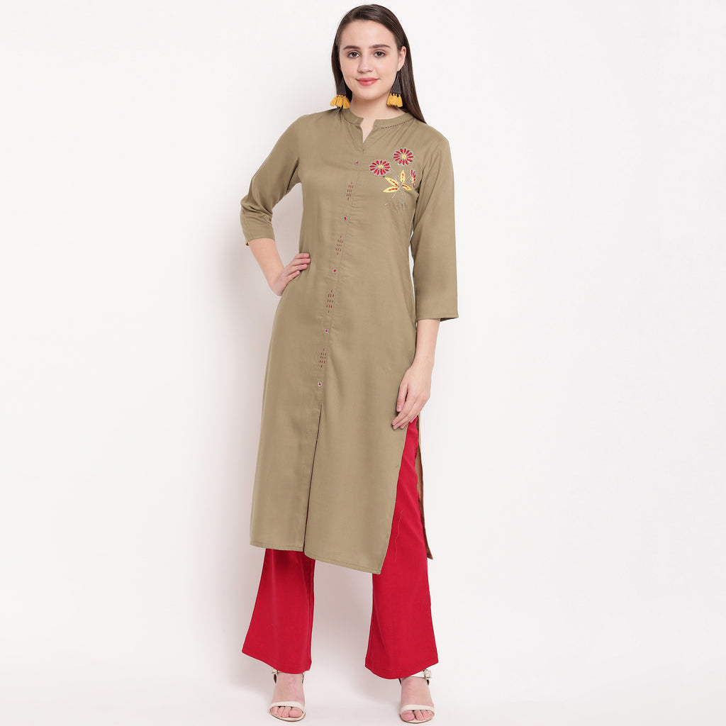 Beige Color Rayon Casual Office Wear Kurtis NYF-6459