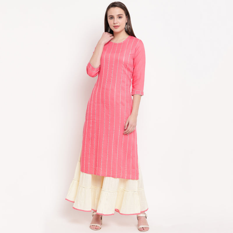 Pink Color Rayon Casual Office Wear Kurtis With Bottom NYF-6463