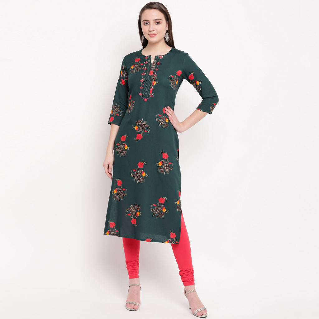 Rama Green Color Rayon Casual Office Wear Kurtis NYF-6471