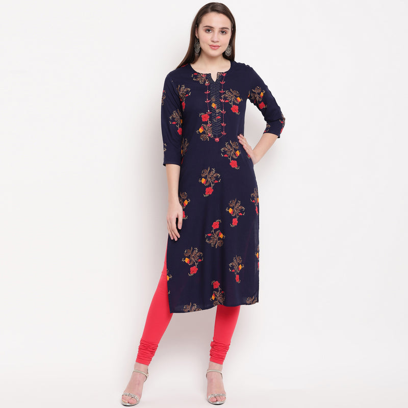 Blue Color Rayon Casual Office Wear Kurtis NYF-6475