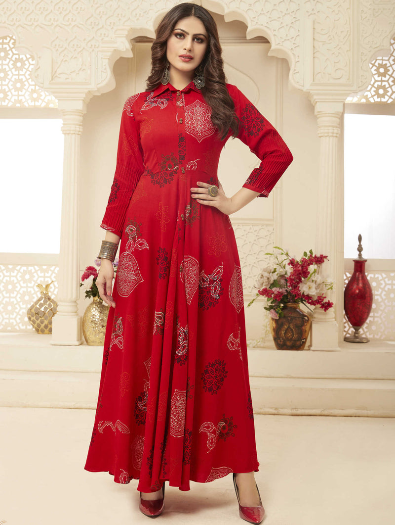 Red Color Rayon Casual Wear Printed Gowns NYF-7198