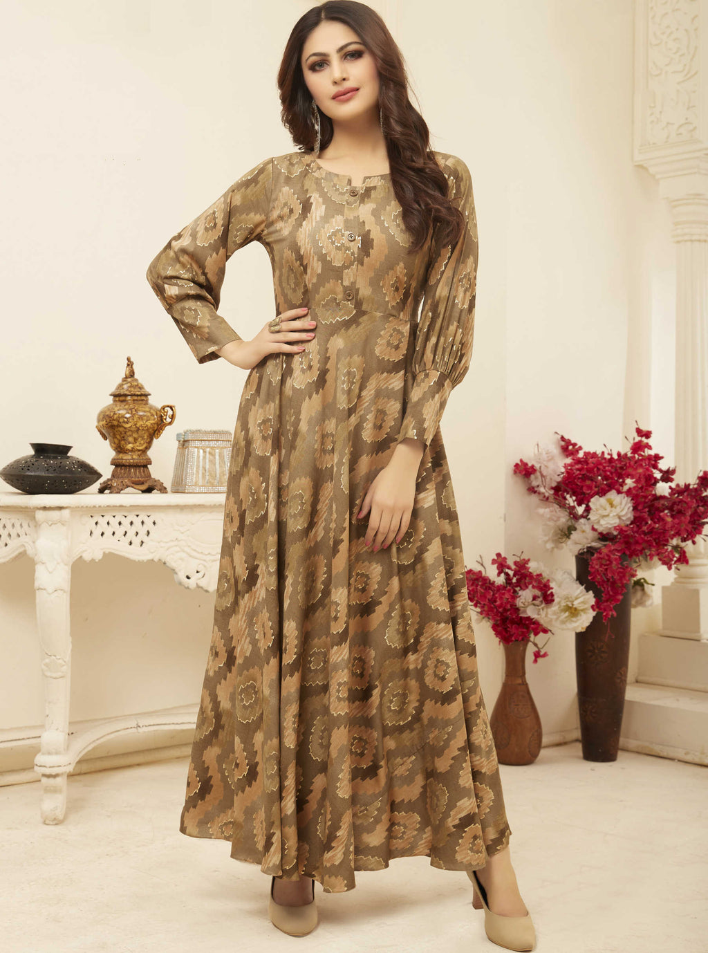 Beige Color Rayon Casual Wear Printed Gowns NYF-7214