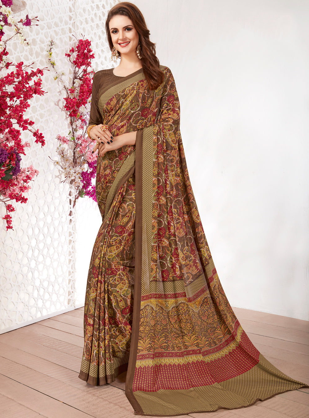 Brown Color Crepe Light Weight Printed Sarees NYF-7228