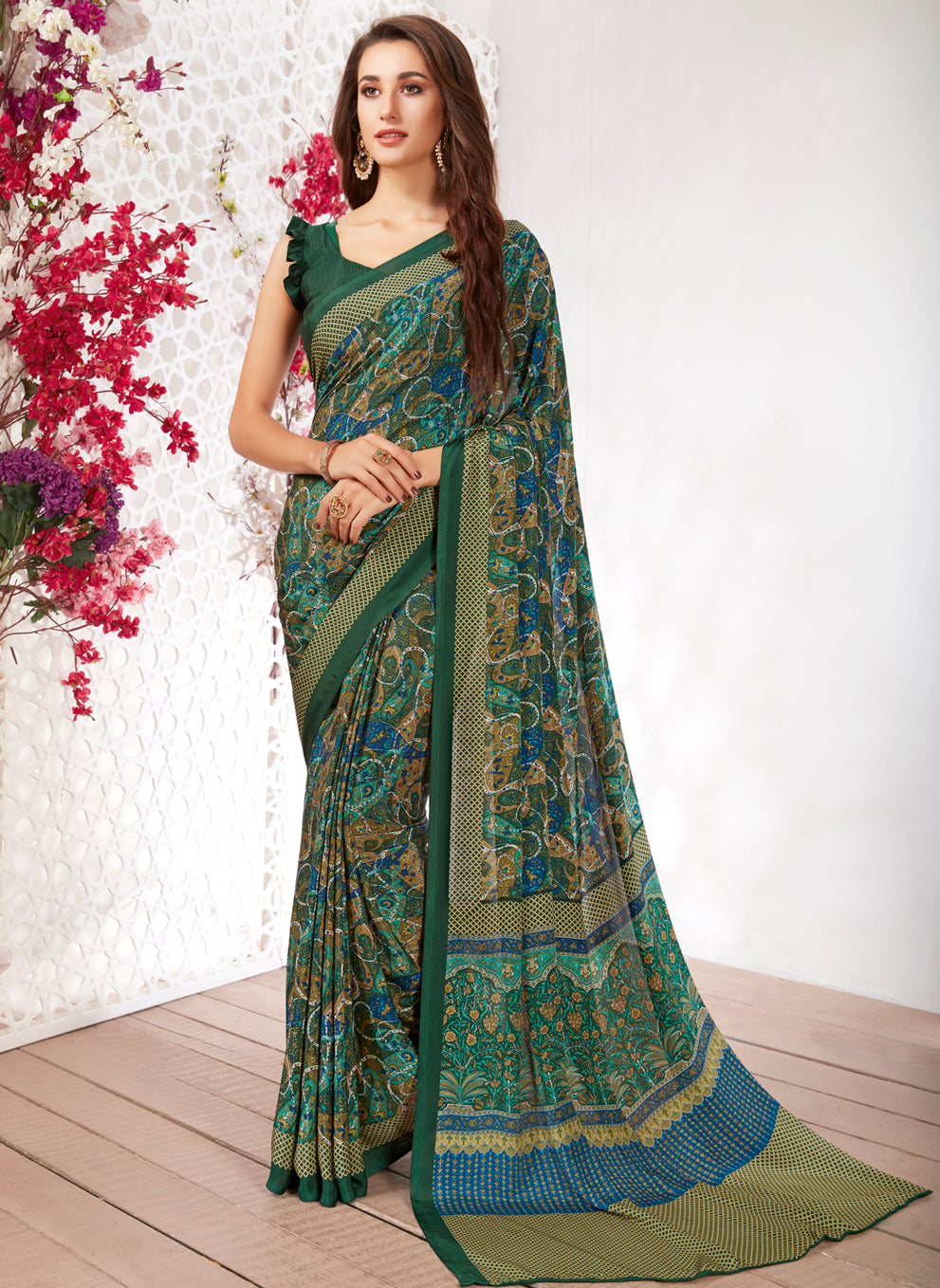 Green Color Crepe Light Weight Printed Sarees NYF-7229