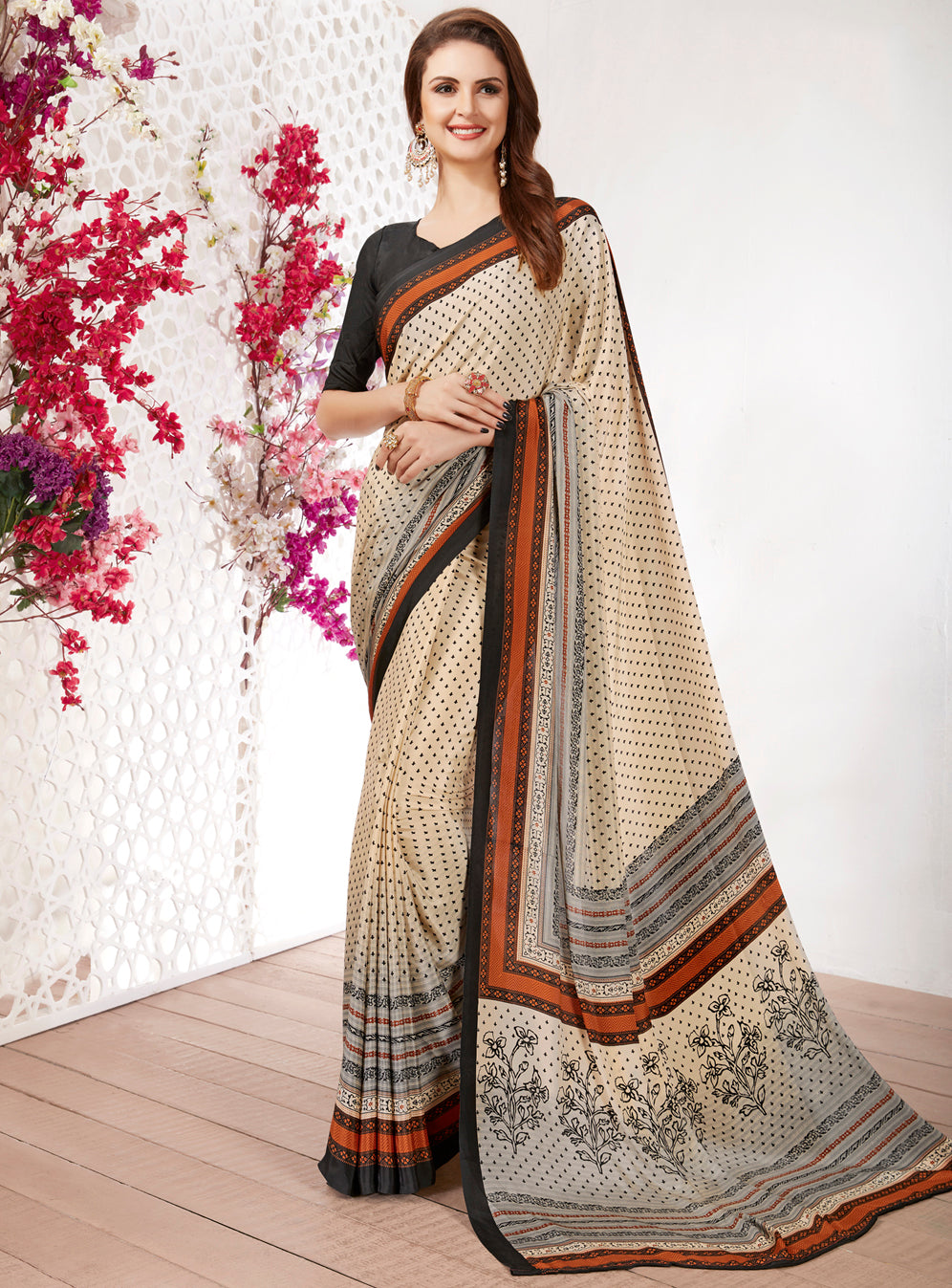 Cream Color Crepe Light Weight Printed Sarees NYF-7230