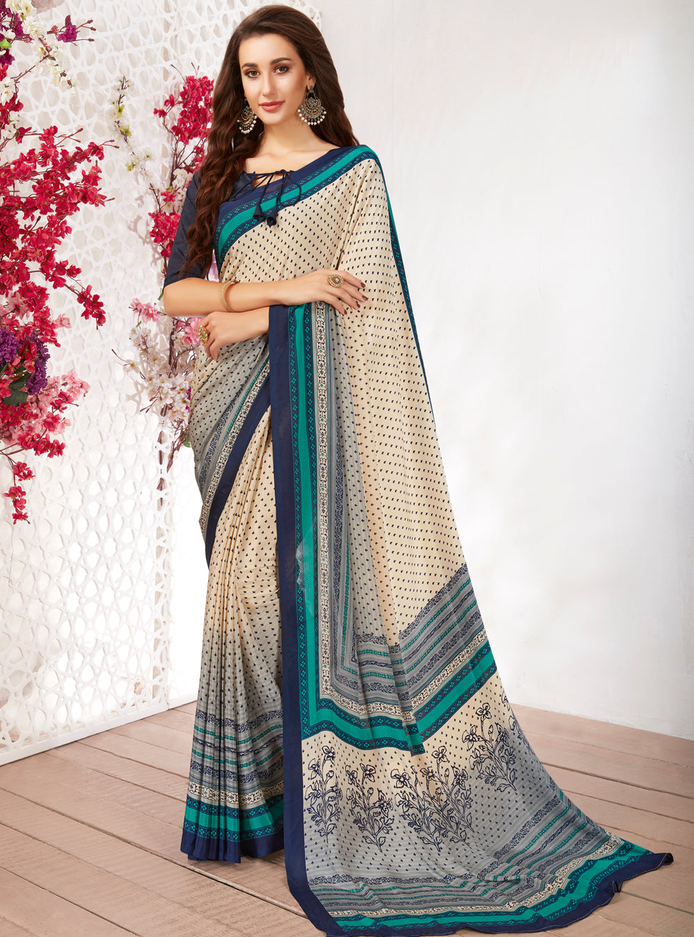 Cream Color Crepe Light Weight Printed Sarees NYF-7231