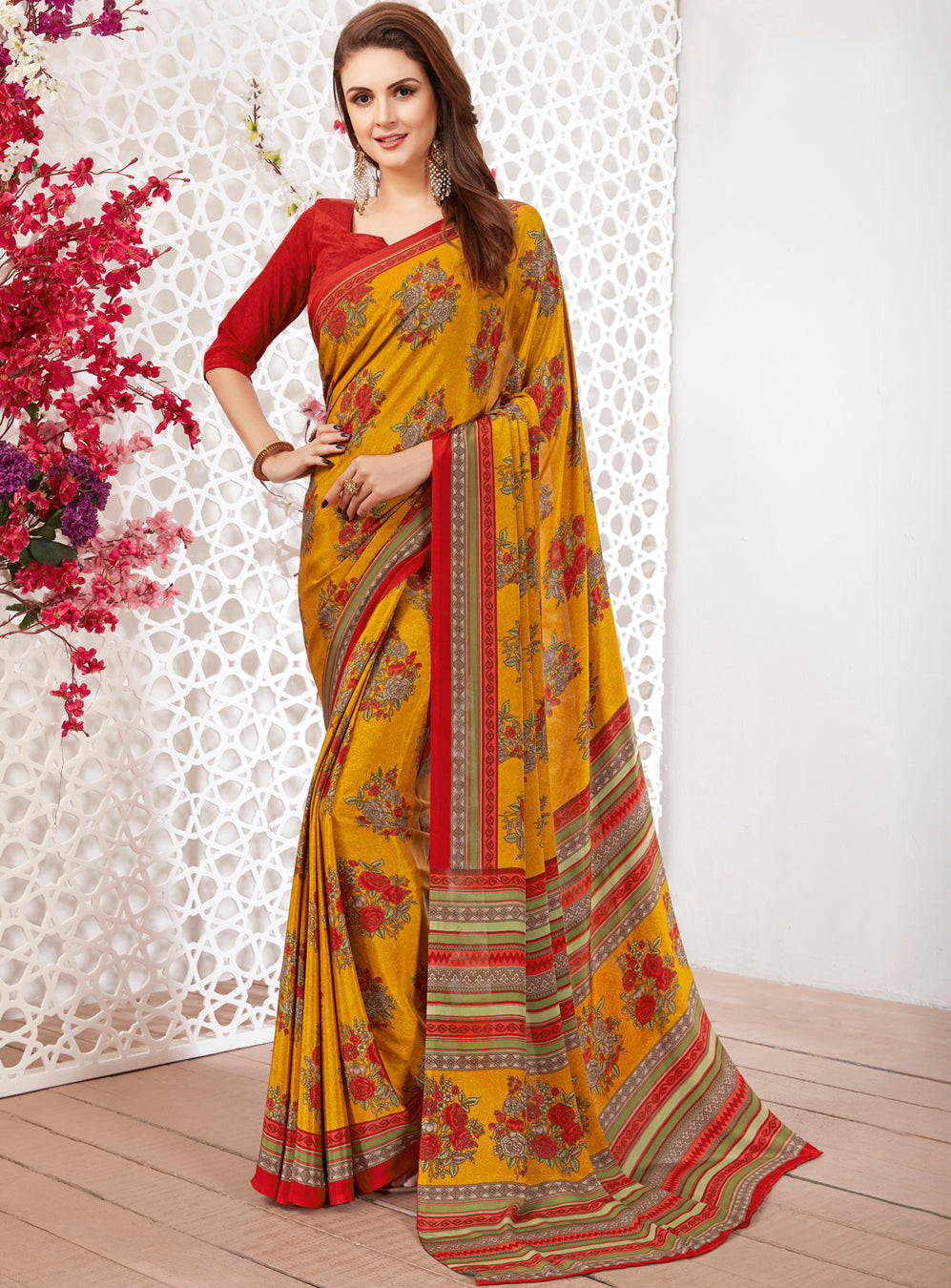 Mustard Yellow Color Crepe Light Weight Printed Sarees NYF-7232
