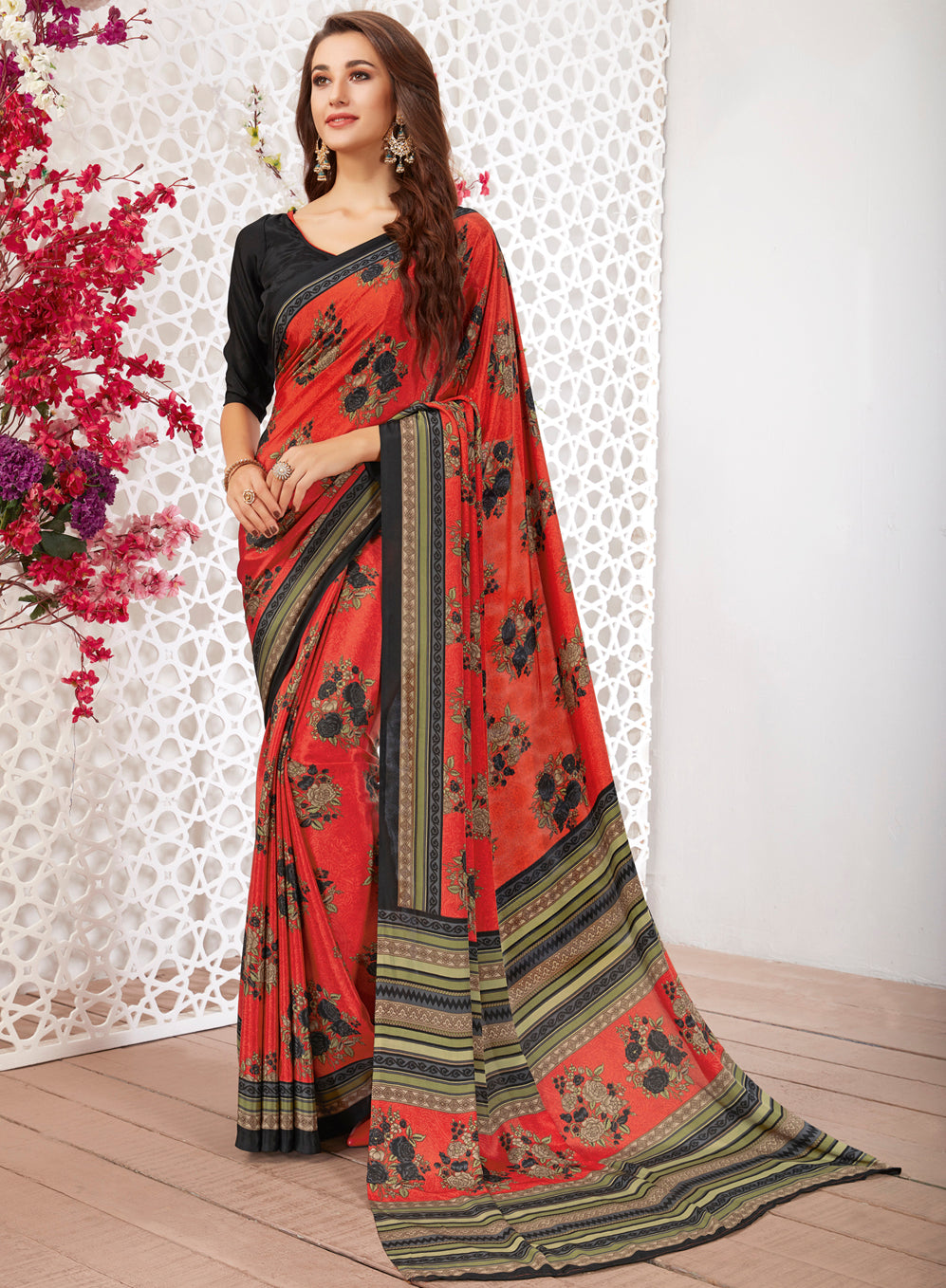 Gajjariya Color Crepe Light Weight Printed Sarees NYF-7233