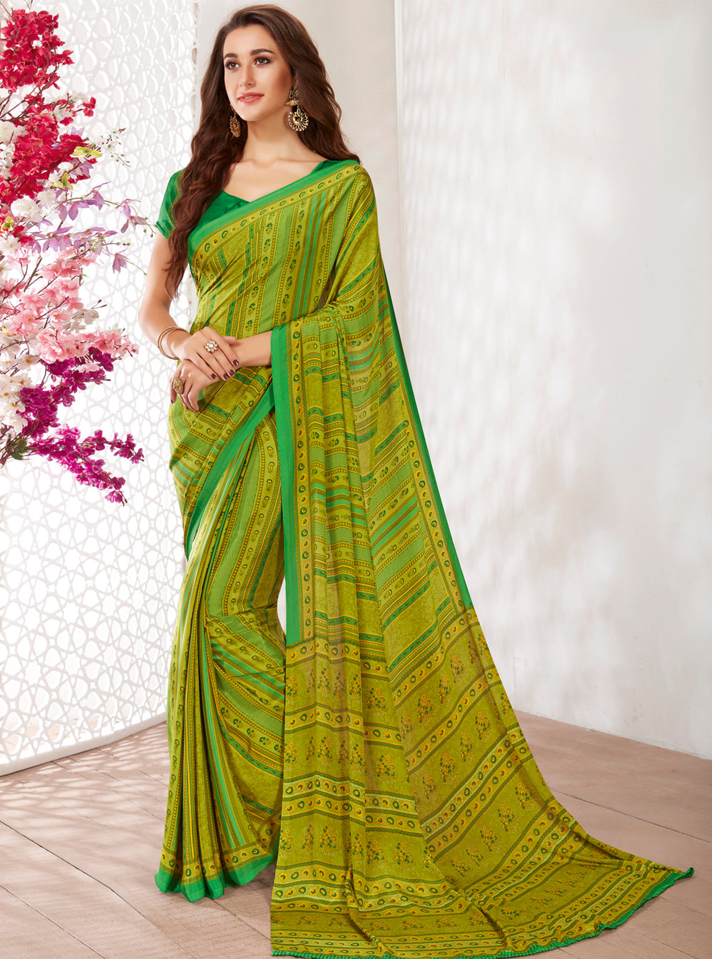 Green Color Crepe Light Weight Printed Sarees NYF-7234
