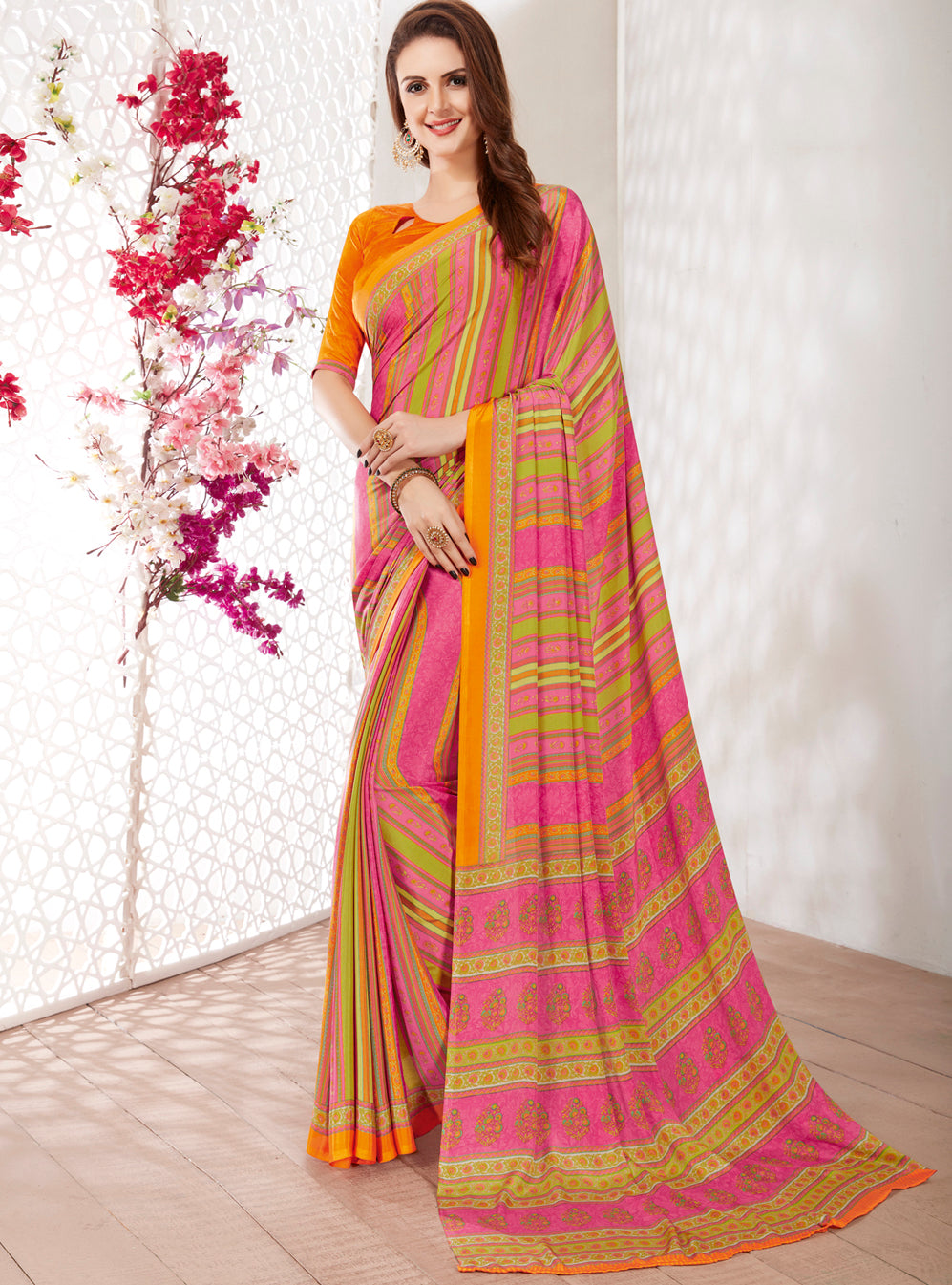 Pink Color Crepe Light Weight Printed Sarees NYF-7235