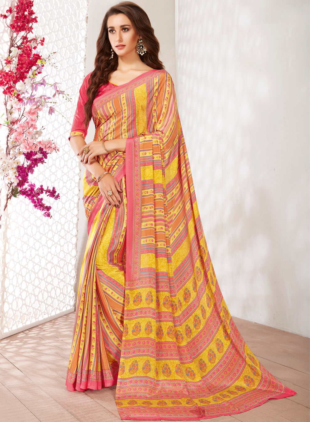 Yellow & Pink Color Crepe Light Weight Printed Sarees NYF-7236
