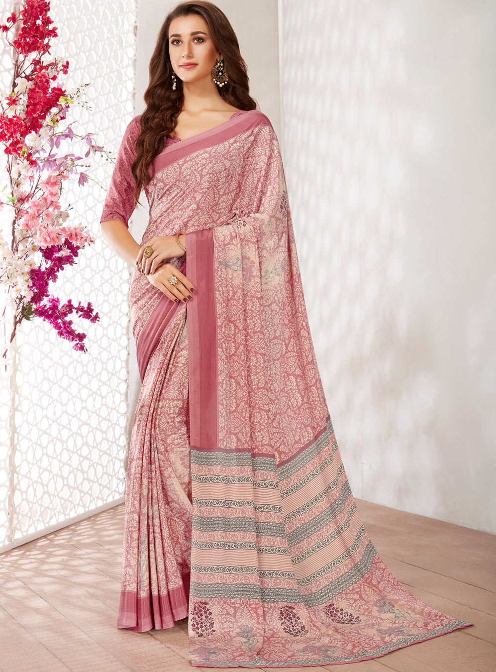 Pink Color Crepe Light Weight Printed Sarees NYF-7239