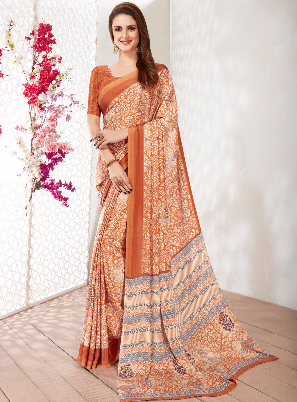 Light Coffee Color Crepe Light Weight Printed Sarees NYF-7240