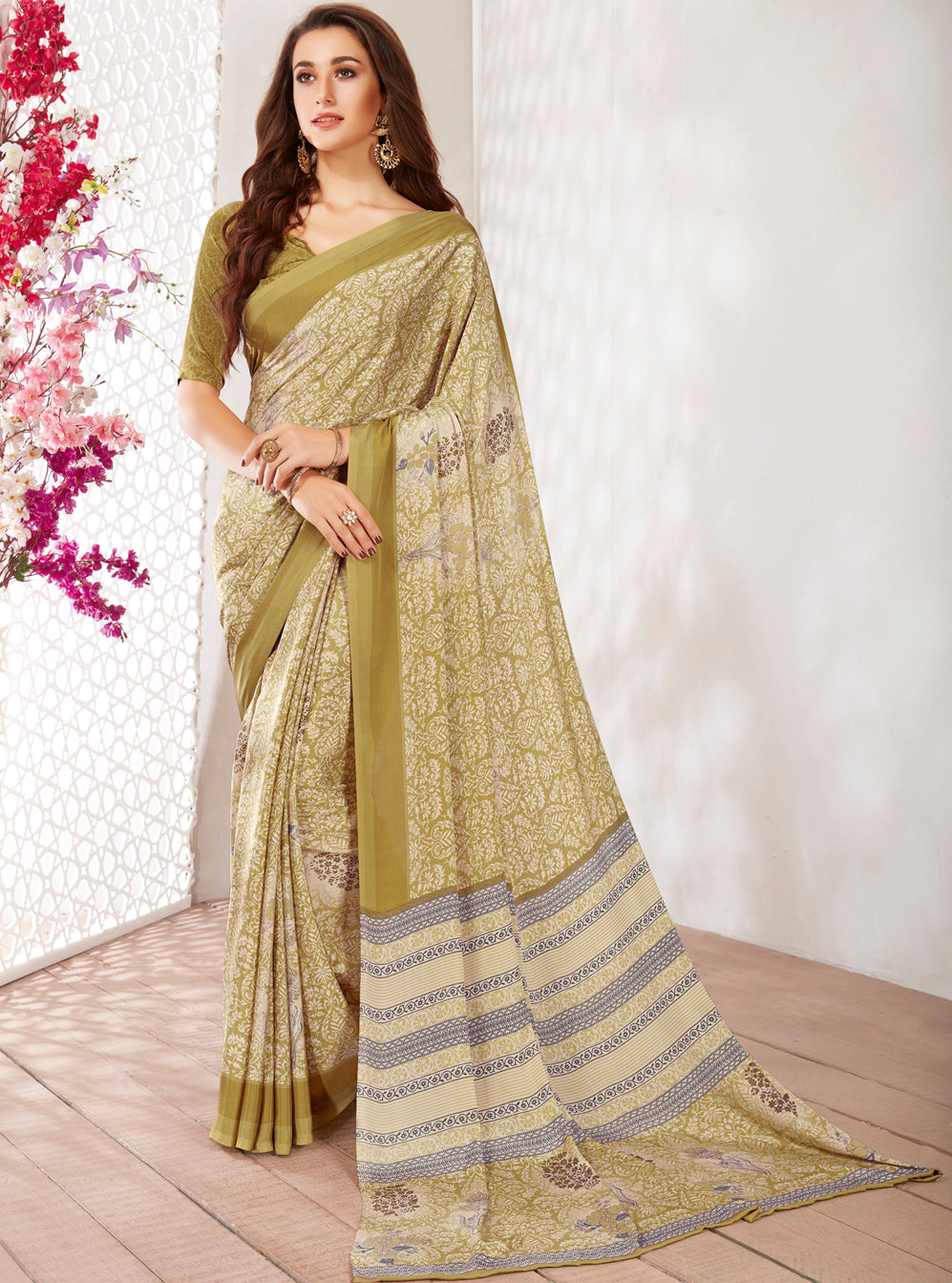 Olive Green Color Crepe Light Weight Printed Sarees NYF-7241