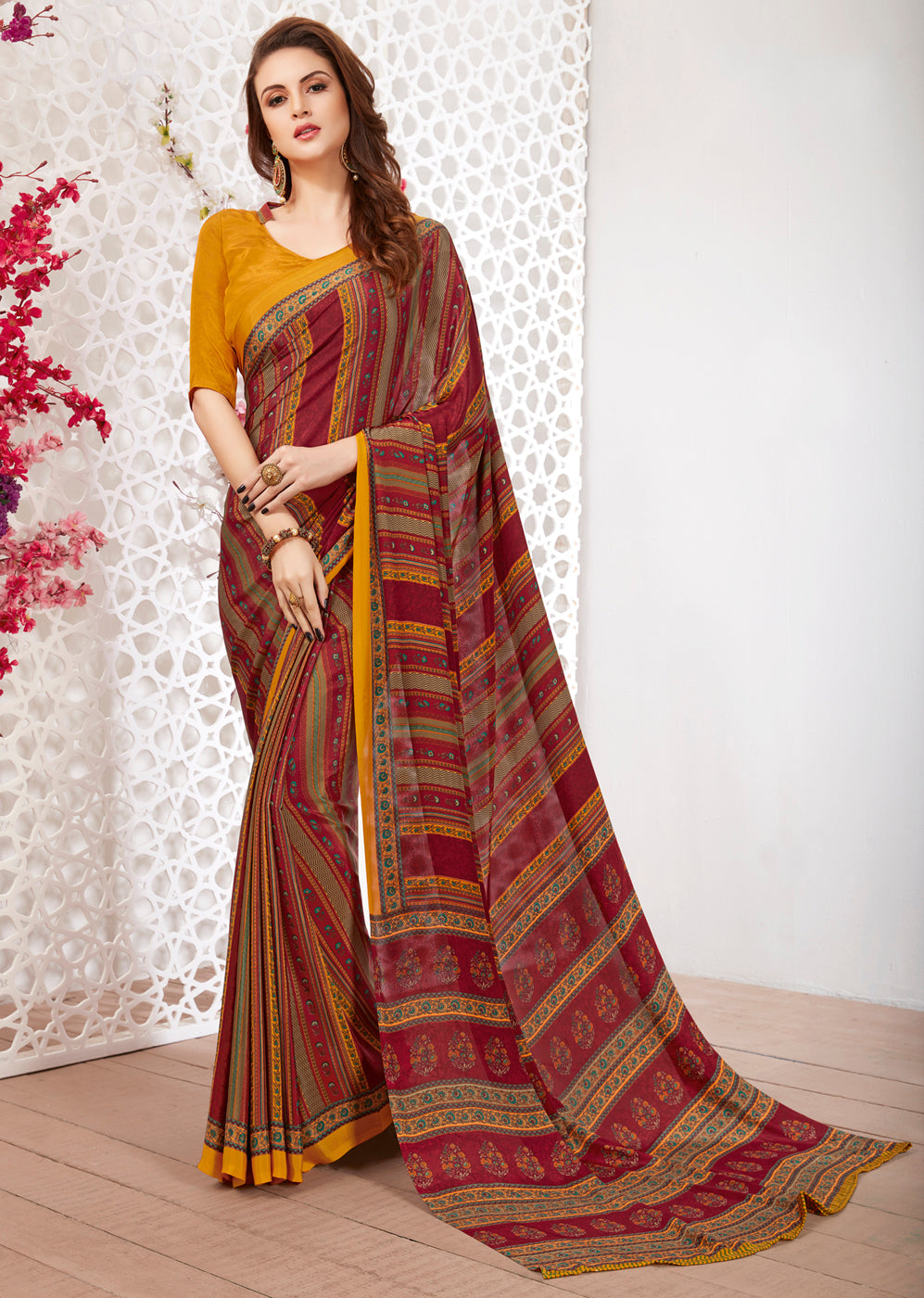 Maroon Color Crepe Light Weight Printed Sarees NYF-7242