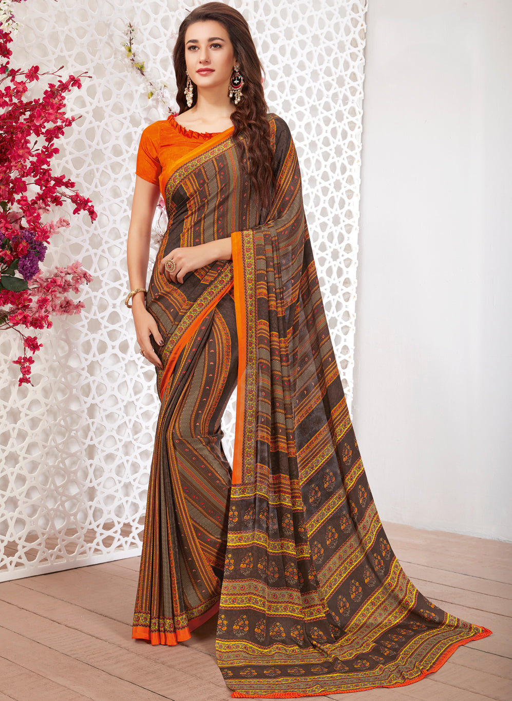 Multi Color Crepe Light Weight Printed Sarees NYF-7243
