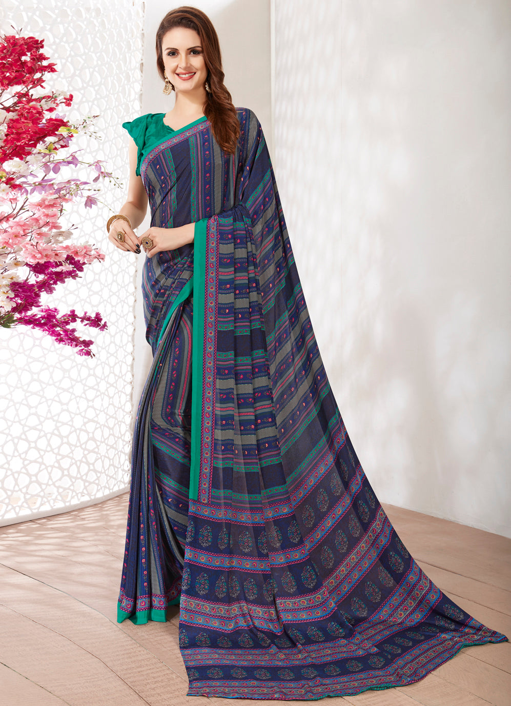 Blue Color Crepe Light Weight Printed Sarees NYF-7244