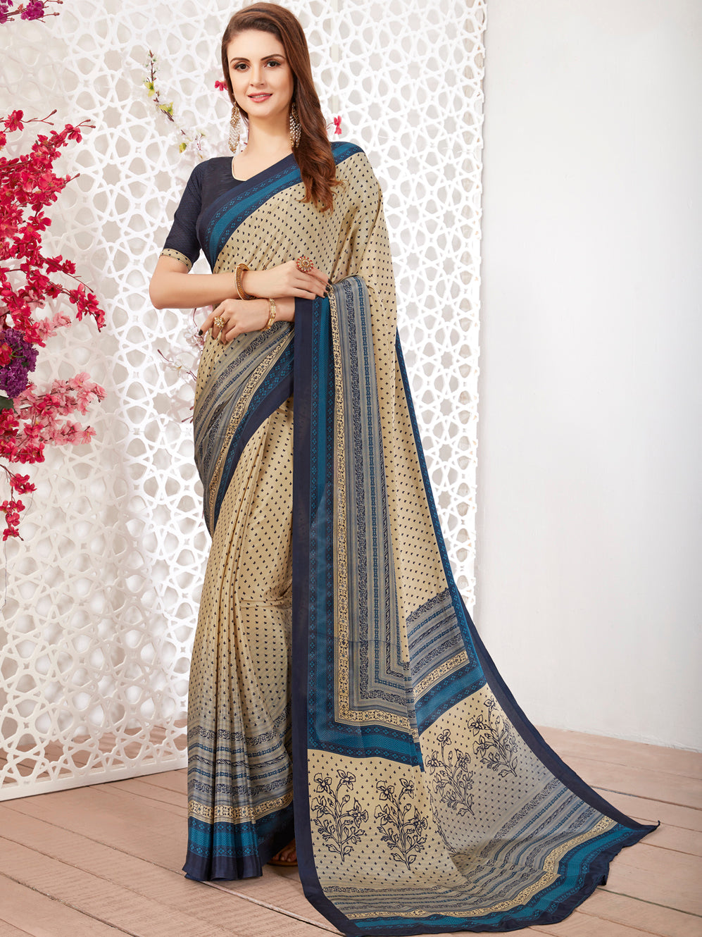 Cream Color Crepe Light Weight Printed Sarees NYF-7245