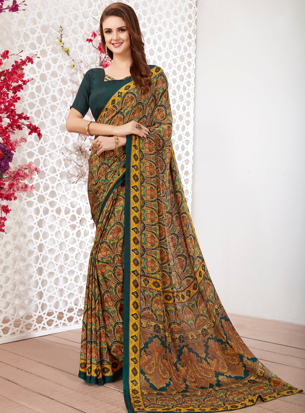 Multi Color Crepe Light Weight Printed Sarees NYF-7247