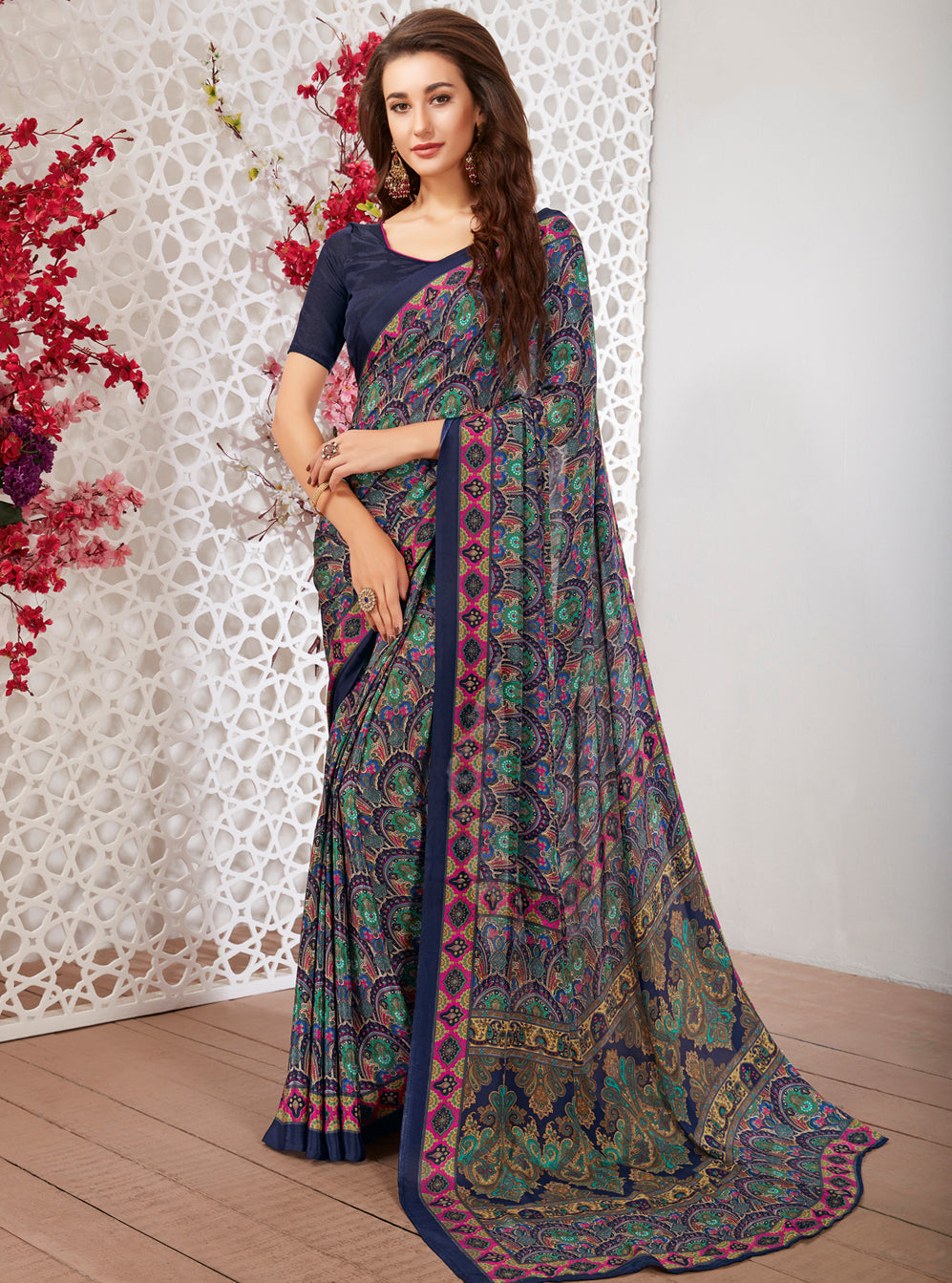 Blue Color Crepe Light Weight Printed Sarees NYF-7248