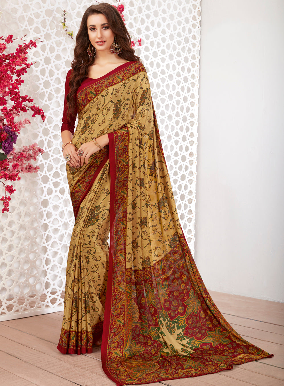 Yellow Color Crepe Light Weight Printed Sarees NYF-7249