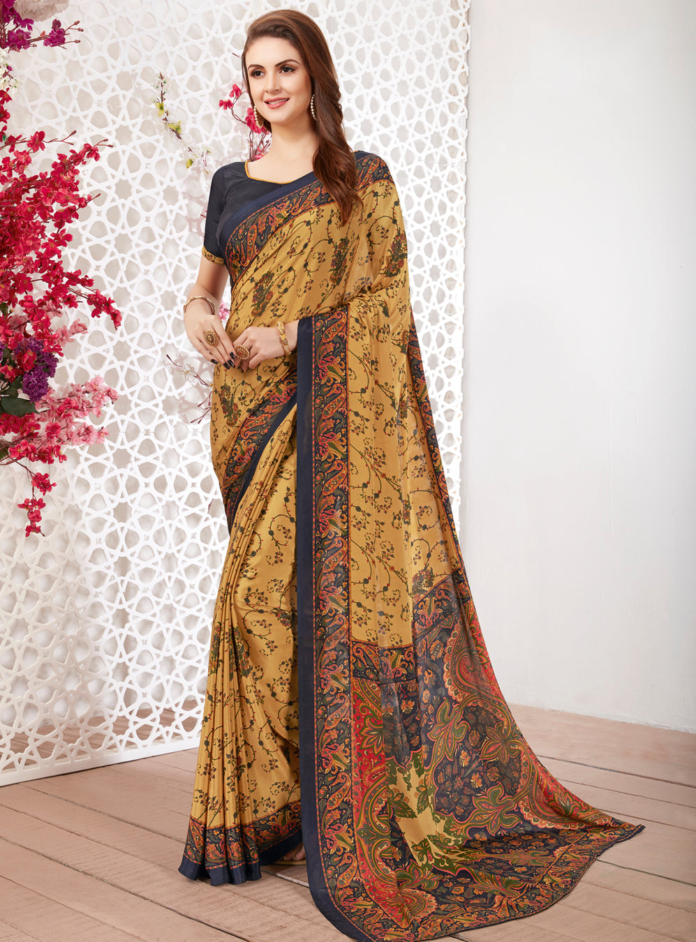 Yellow Color Crepe Light Weight Printed Sarees NYF-7250