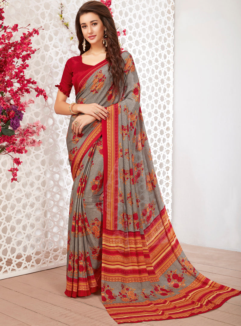 Grey Color Crepe Light Weight Printed Sarees NYF-7251