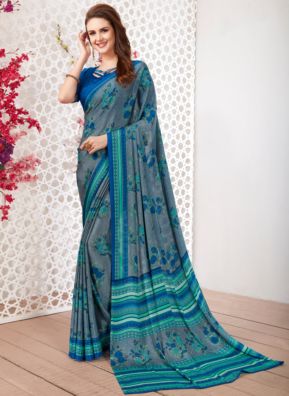 Grey Color Crepe Light Weight Printed Sarees NYF-7252