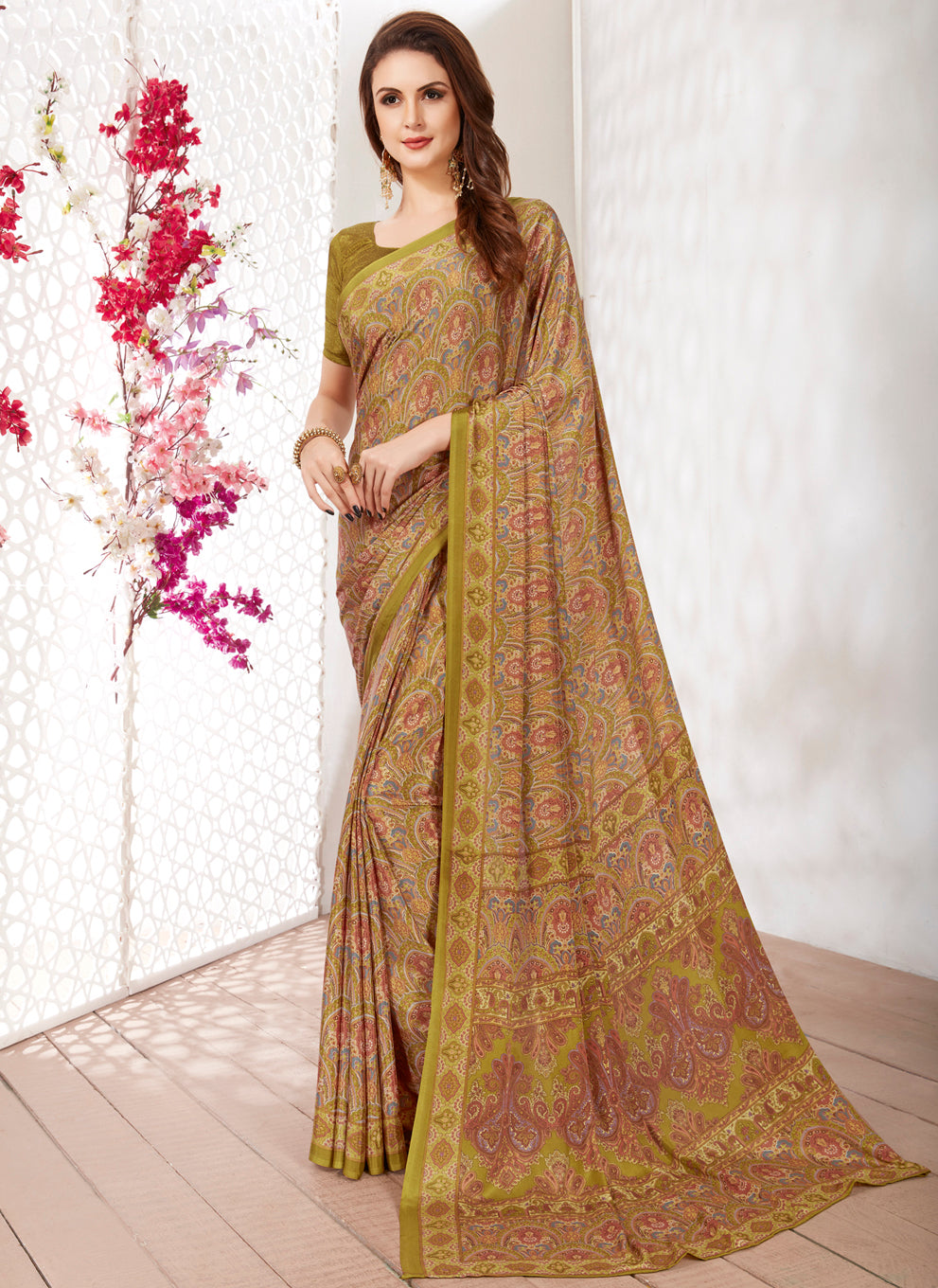 Multi Color Crepe Light Weight Printed Sarees NYF-7253