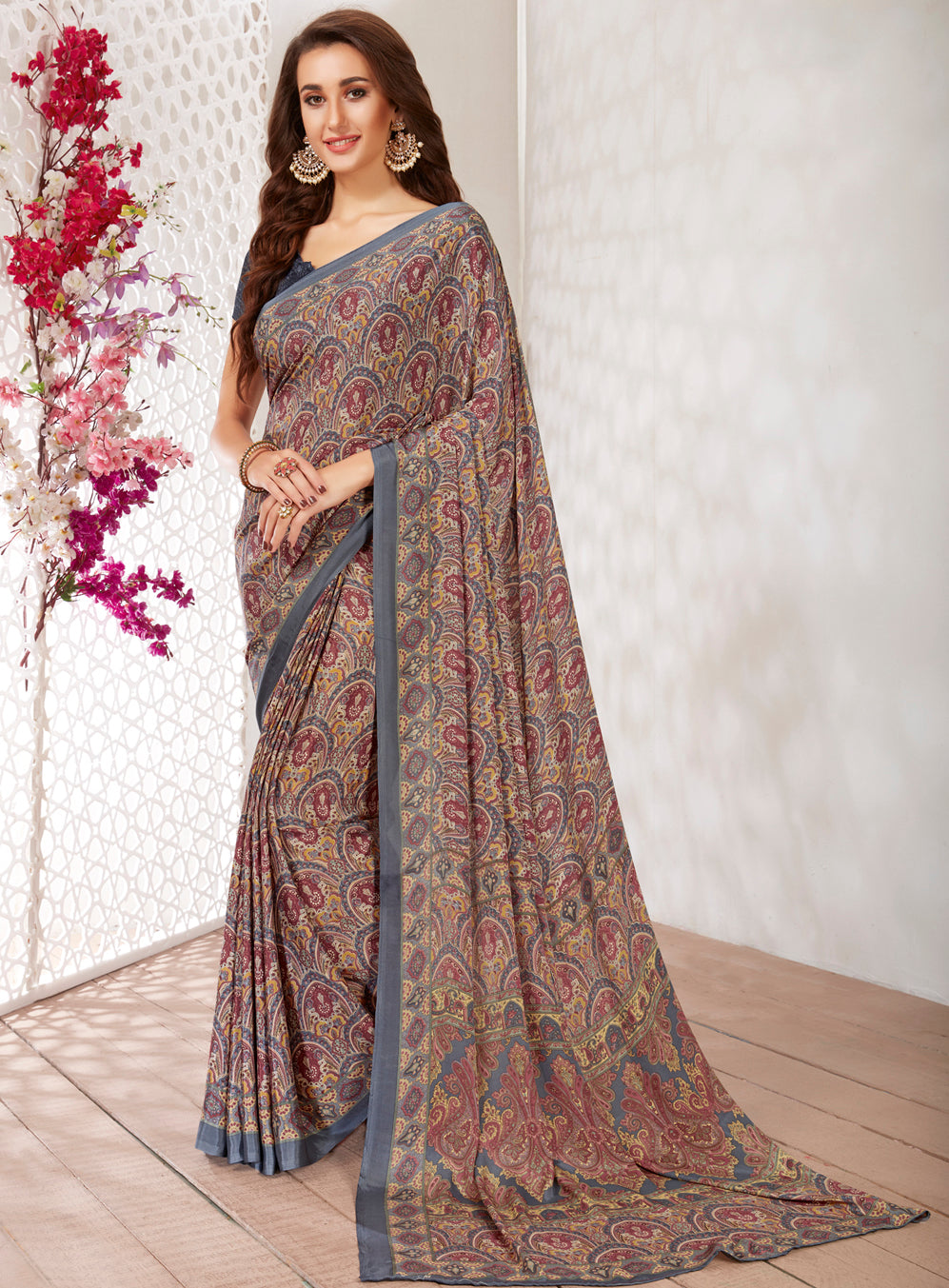 Multi Color Crepe Light Weight Printed Sarees NYF-7254