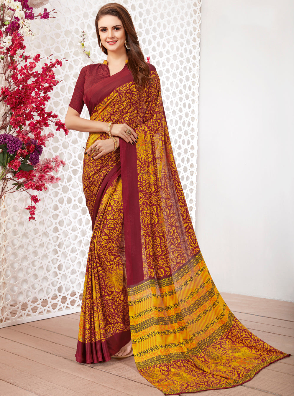 Yellow & Maroon Color Crepe Light Weight Printed Sarees NYF-7255