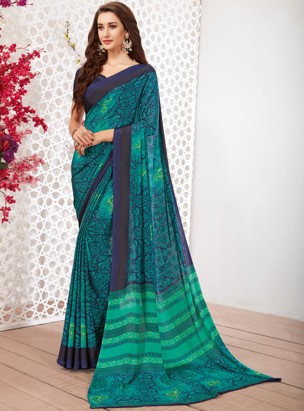 Blue & Sea Green Color Crepe Light Weight Printed Sarees NYF-7256