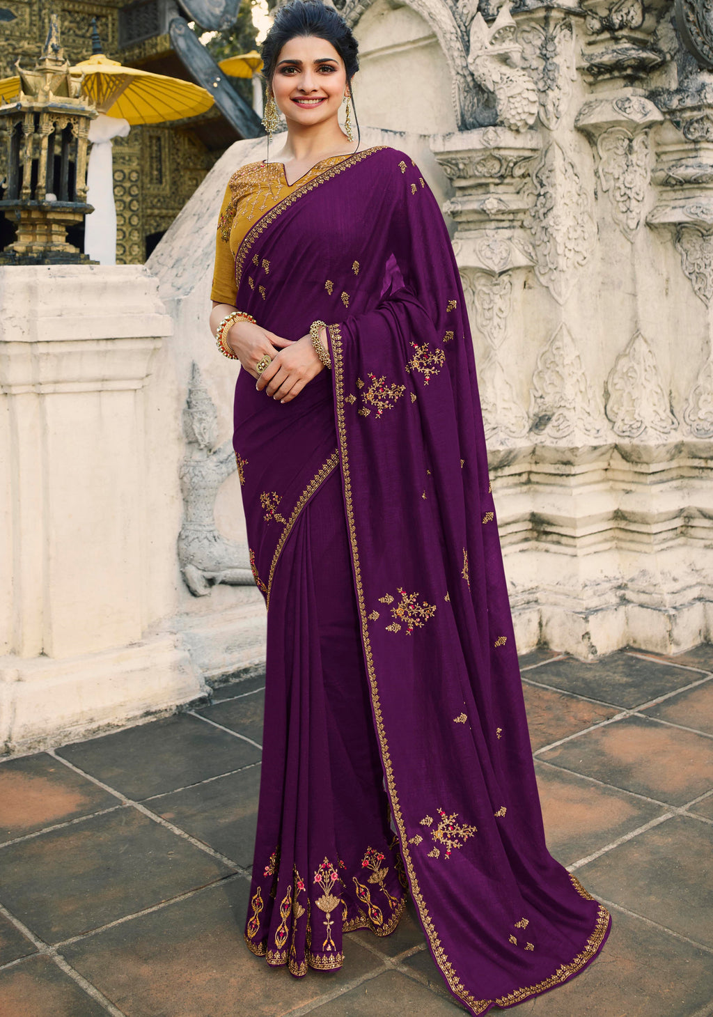Purple Color Crepe Silk Lovely Festive Sarees NYF-7294