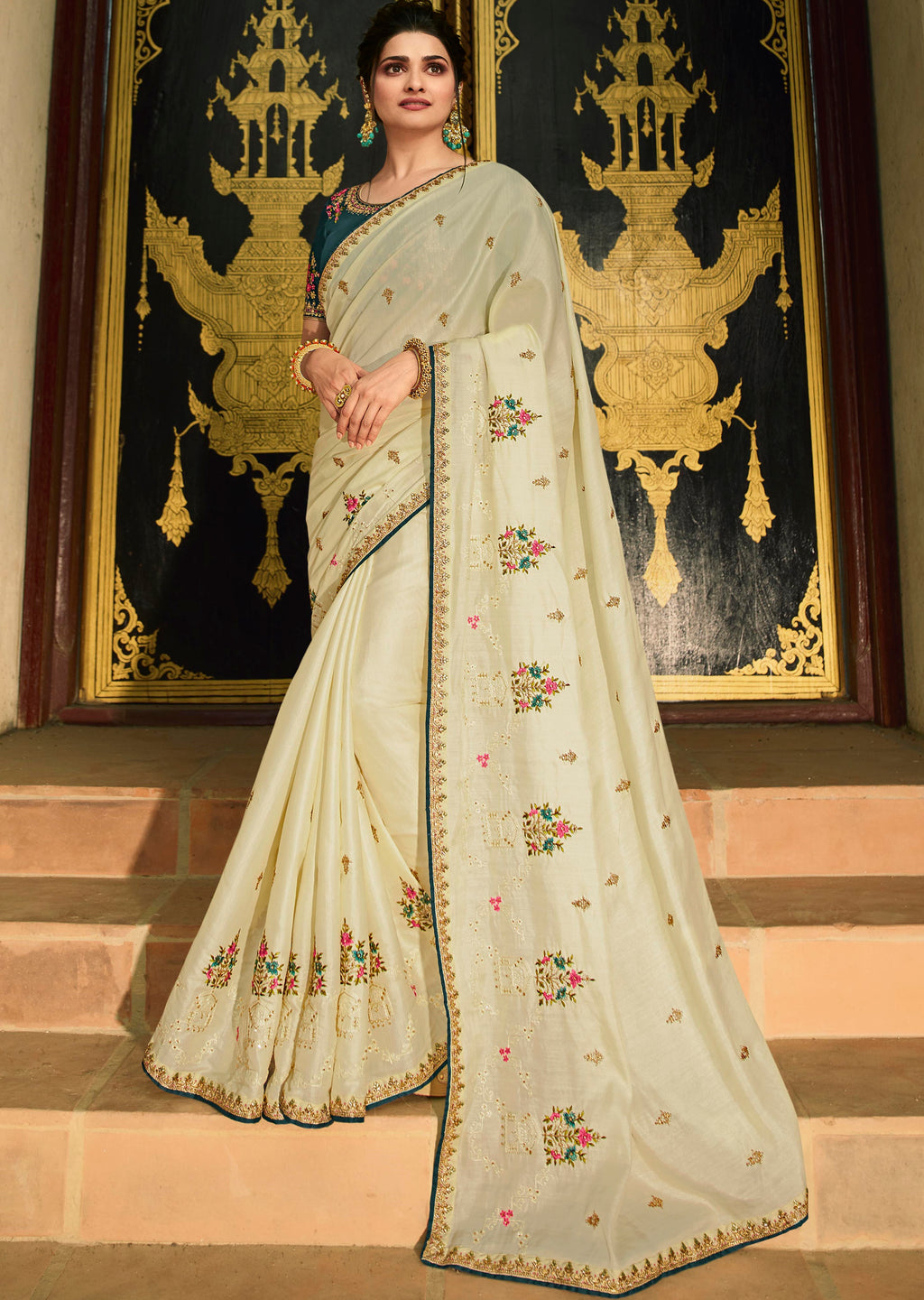 Cream Color Paper Silk Lovely Festive Sarees NYF-7295