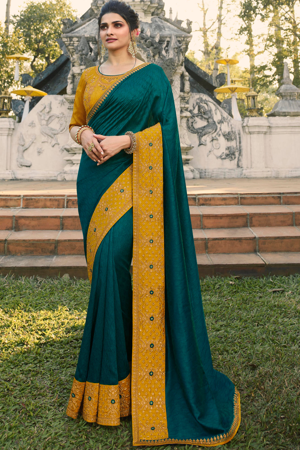 Rama Blue Color Chinon Chiffon Lovely Festive Sarees NYF-7296