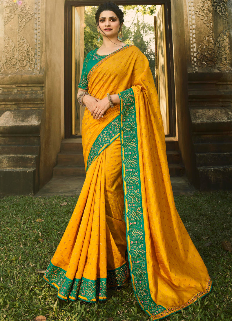 Yellow Color Chinon Chiffon Lovely Festive Sarees NYF-7299