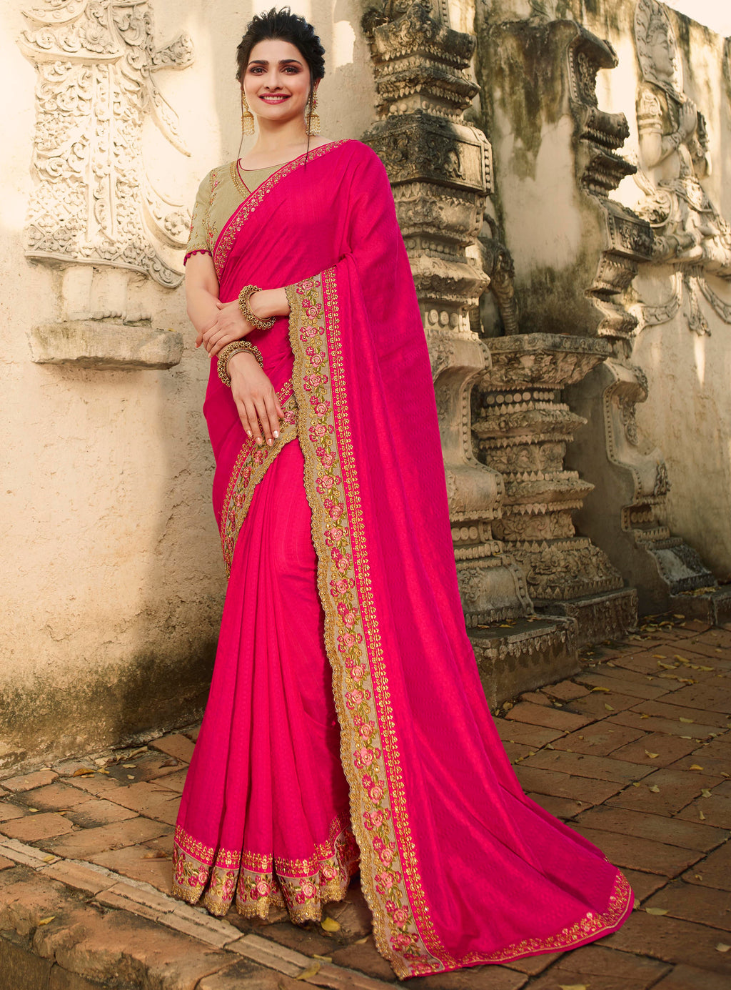 Pink Color Raw Silk Lovely Festive Sarees NYF-7300