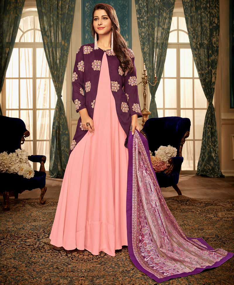 Pink & Purple Color Muslin Designer Gowns With Dupatta NYF-7171