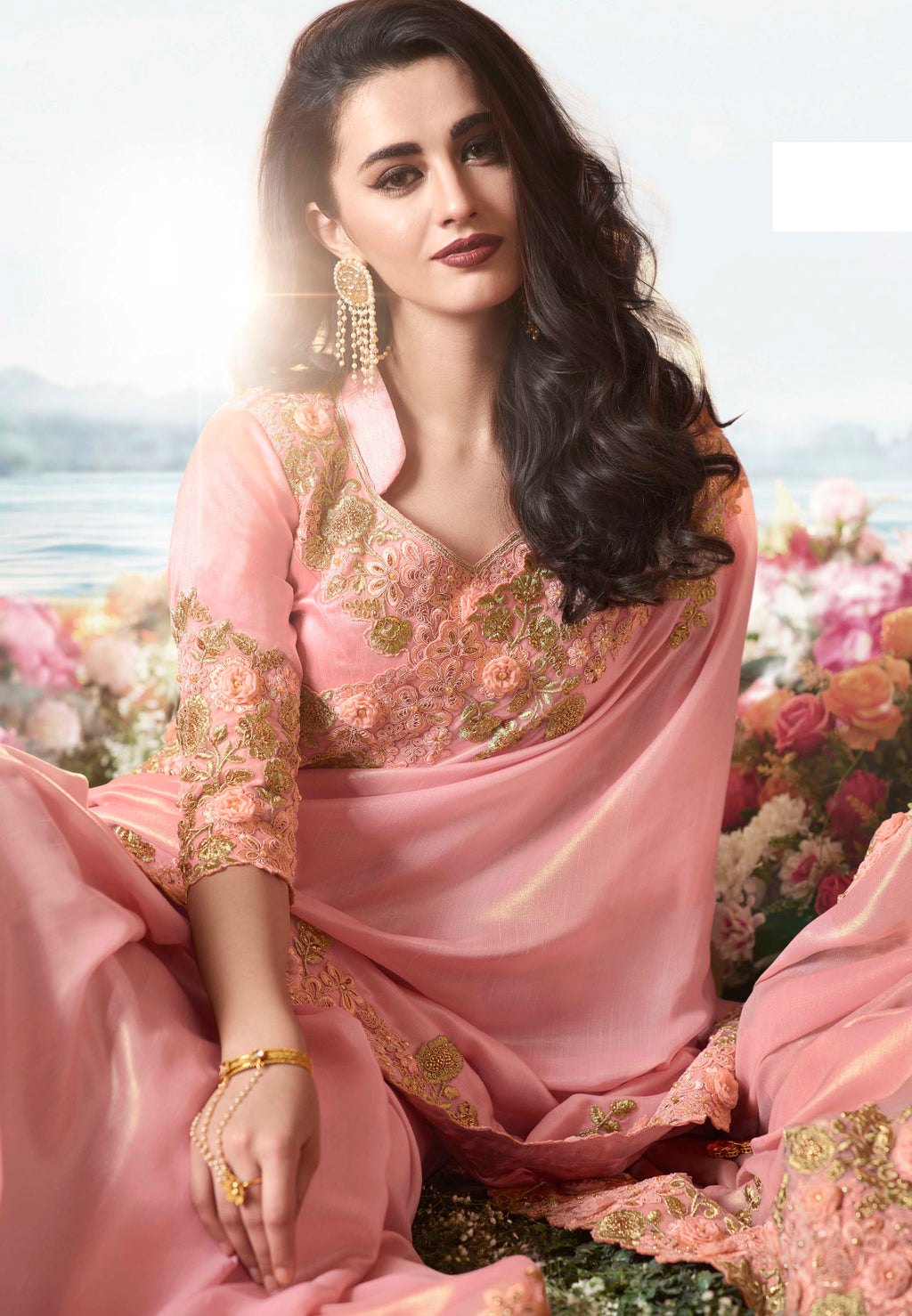 Pink Color Tissue Silk Embroidered Wedding Function Sarees NYF-7302