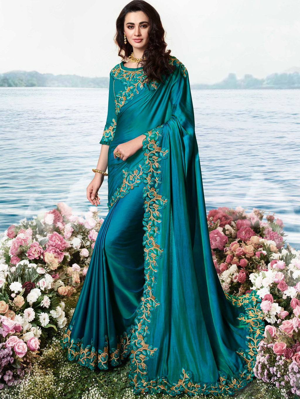 Blue Color Silk Georgette Embroidered Wedding Function Sarees NYF-7303