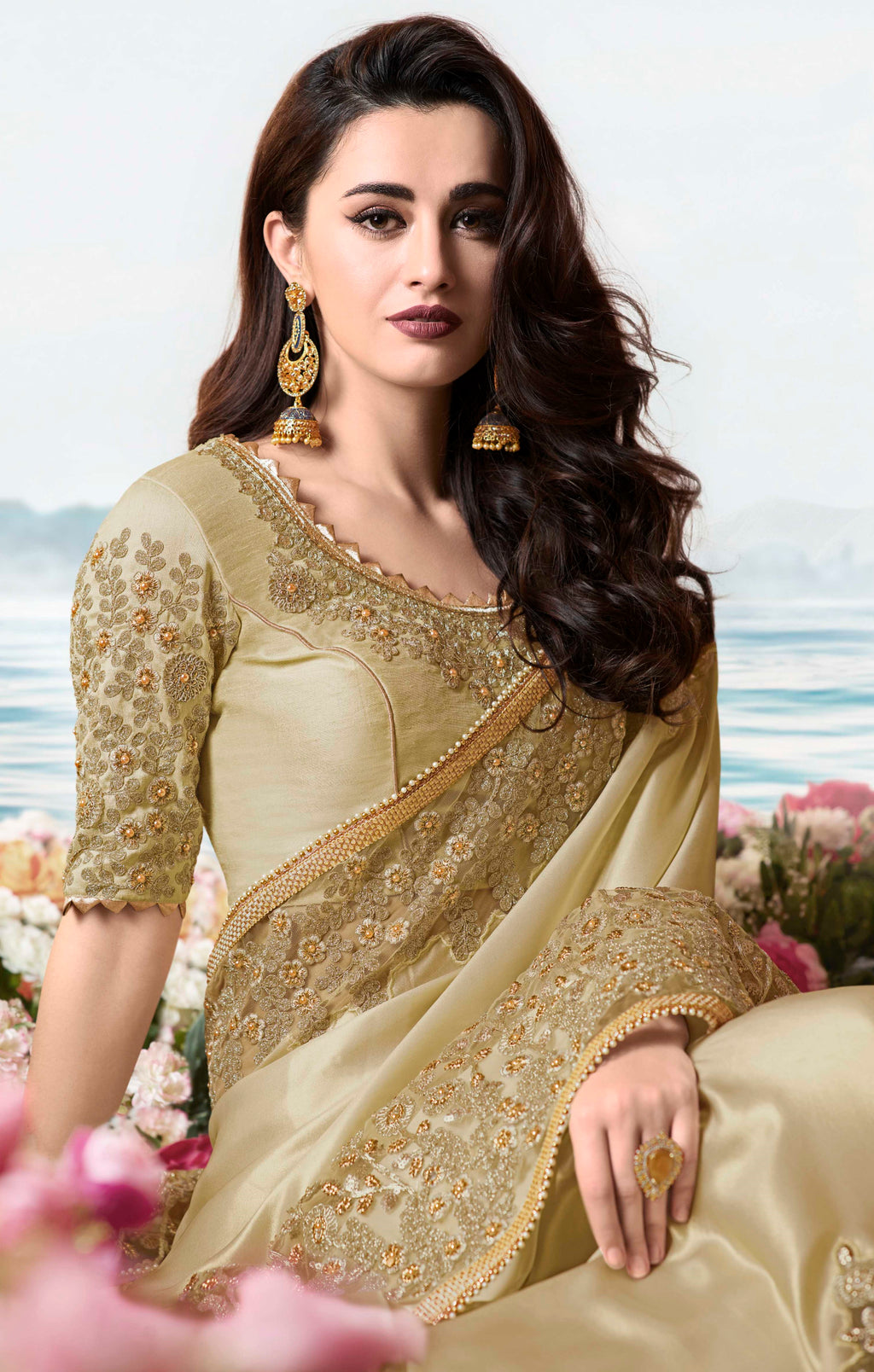 Golden Color Tissue Silk Embroidered Wedding Function Sarees NYF-7304