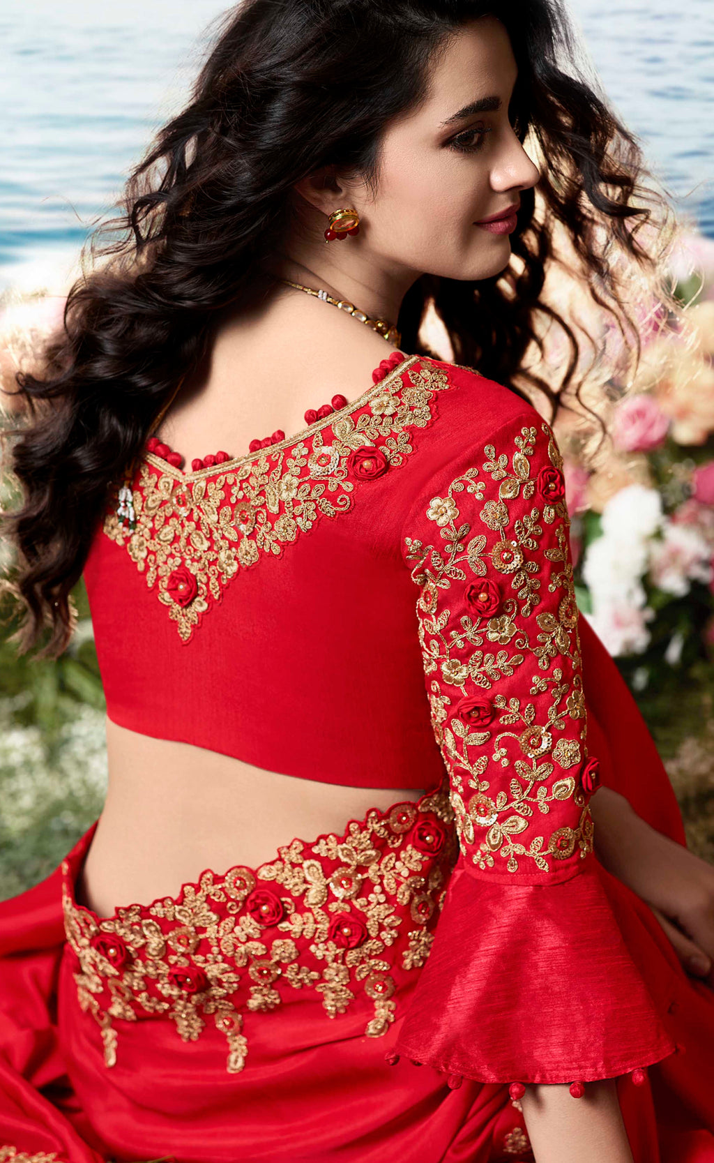 Red Color Silk Georgette Embroidered Wedding Function Sarees NYF-7305