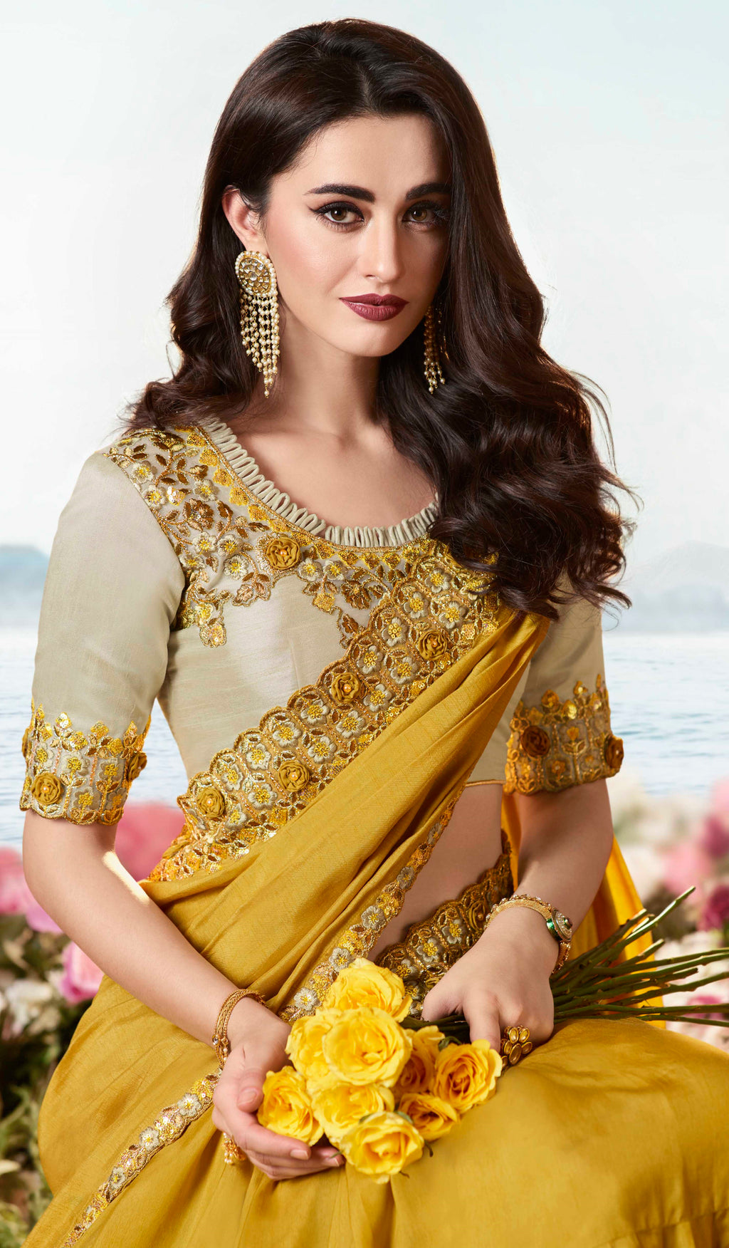 Mustard Yellow Color Soft Silk Embroidered Wedding Function Sarees NYF-7306