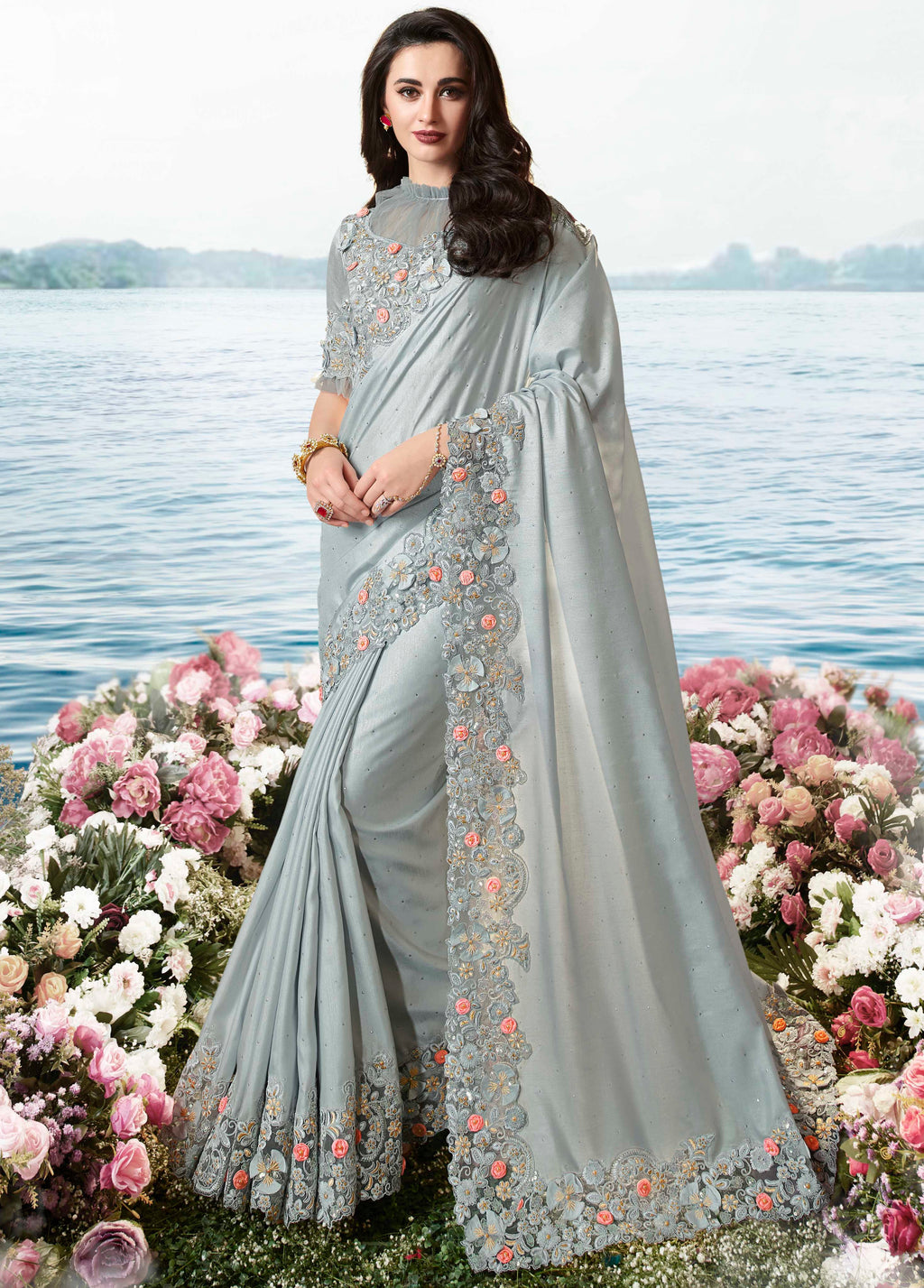 Grey Color Tissue Silk Embroidered Wedding Function Sarees NYF-7307