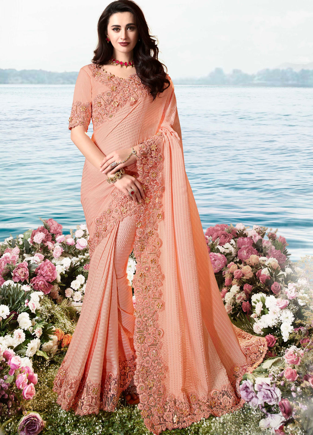 Peach Color Fancy Soft Silk Embroidered Wedding Function Sarees NYF-7308