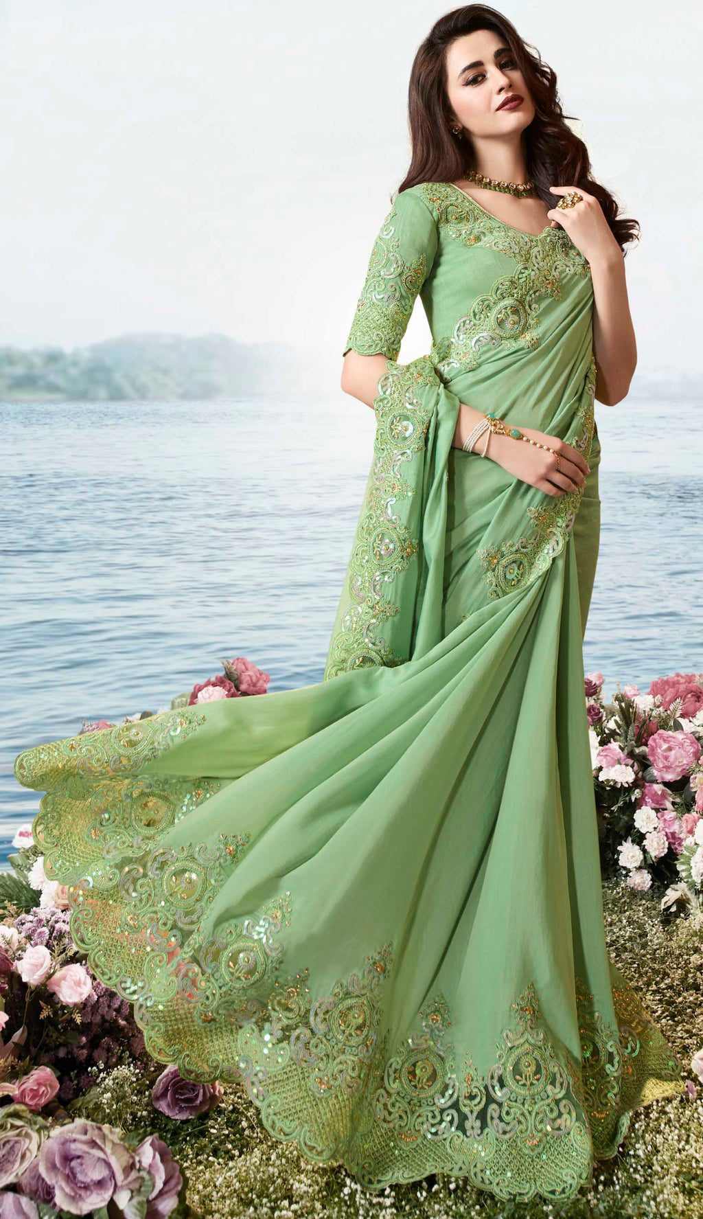 Green Color Tissue Silk Embroidered Wedding Function Sarees NYF-7309