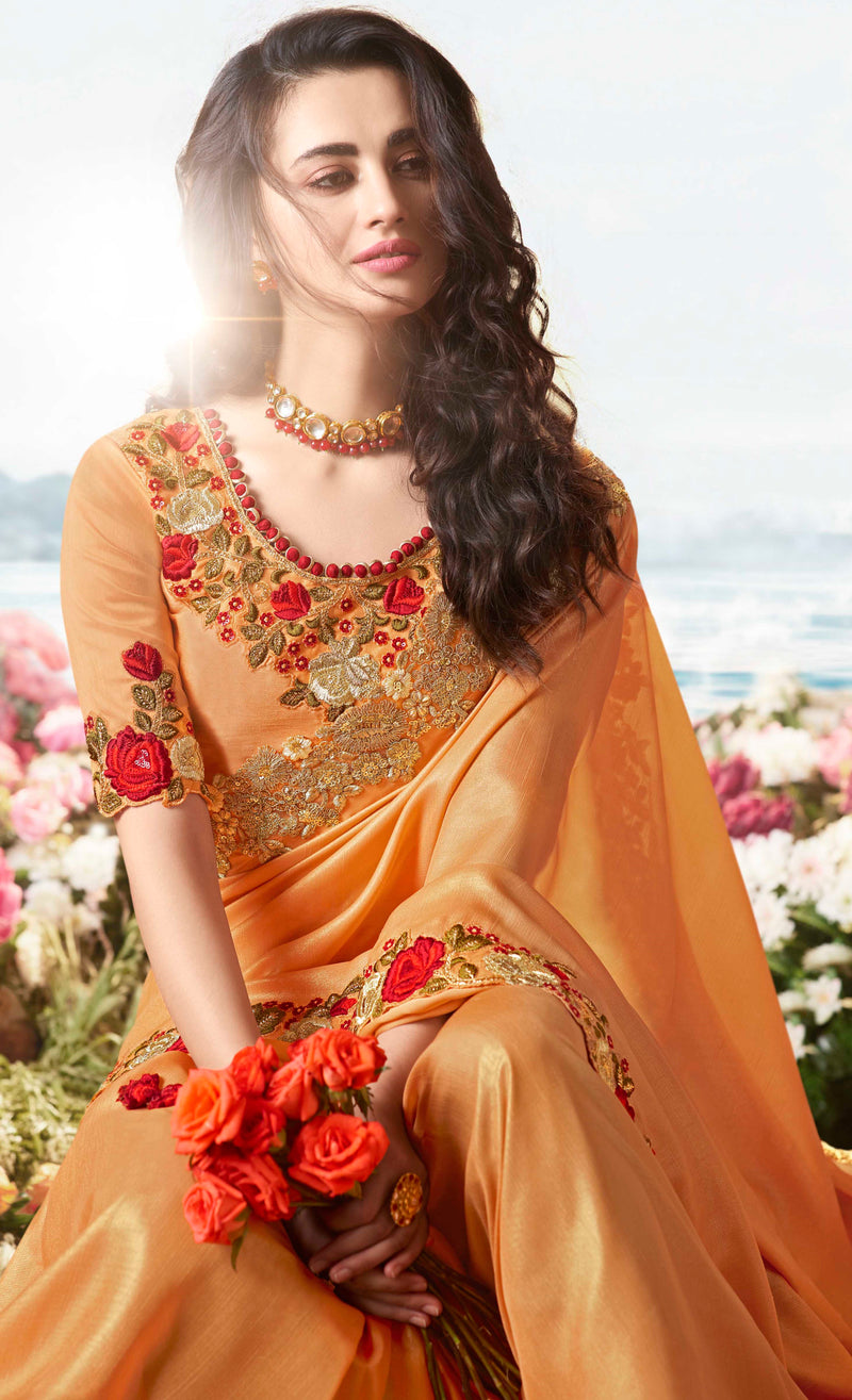 Orange Color Tissue Silk Embroidered Wedding Function Sarees NYF-7310