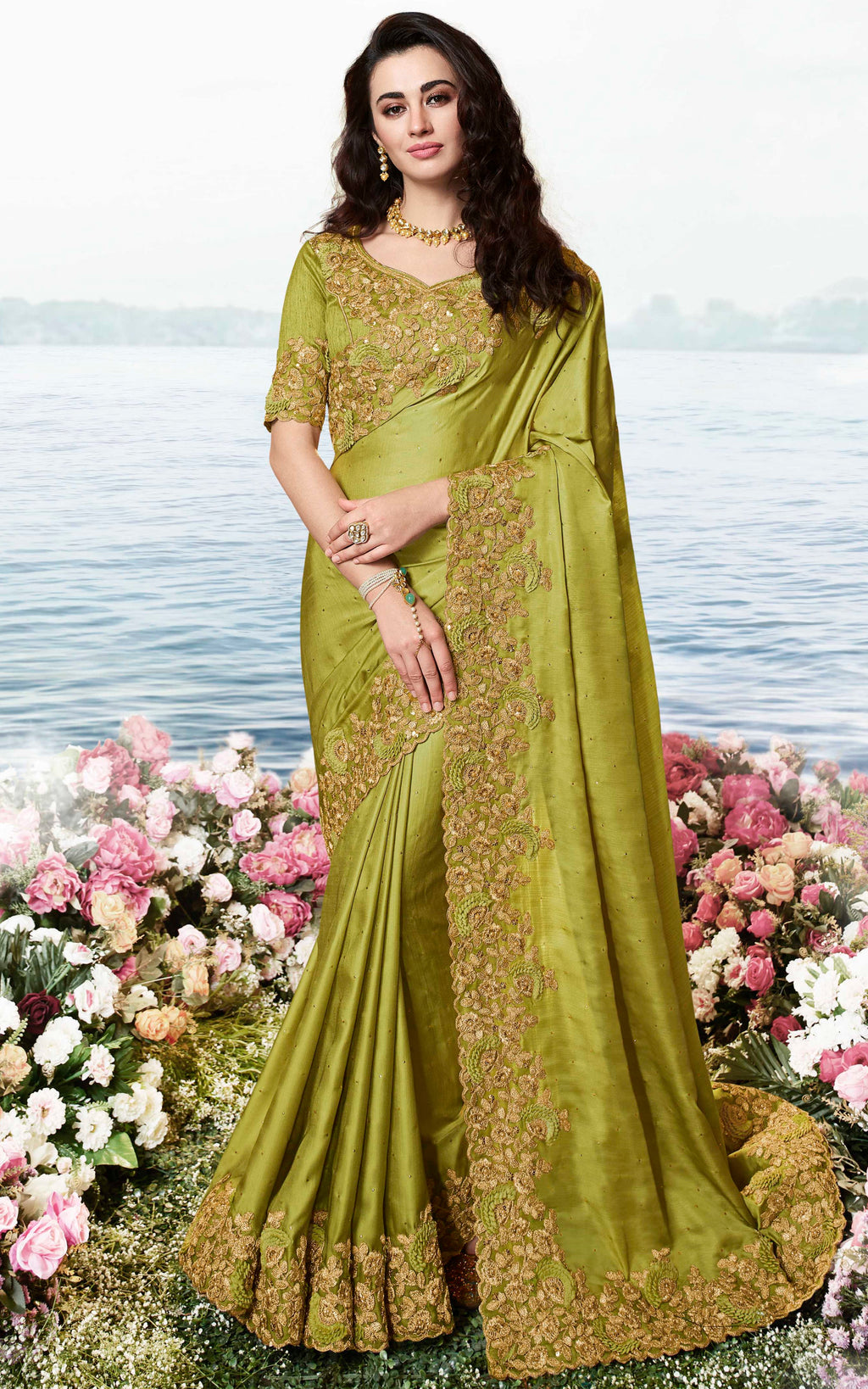 Olive Green Color Soft Silk Embroidered Wedding Function Sarees NYF-7311
