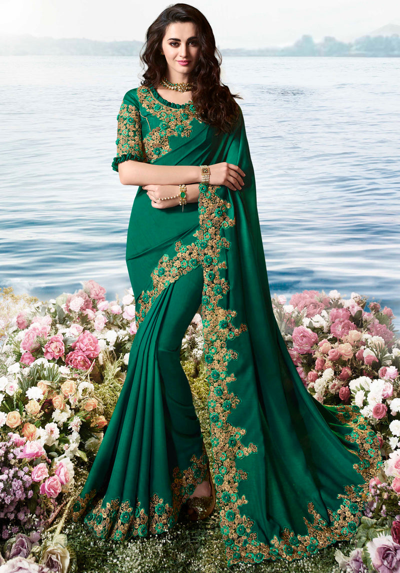 Green Color Satin Silk Embroidered Wedding Function Sarees NYF-7312