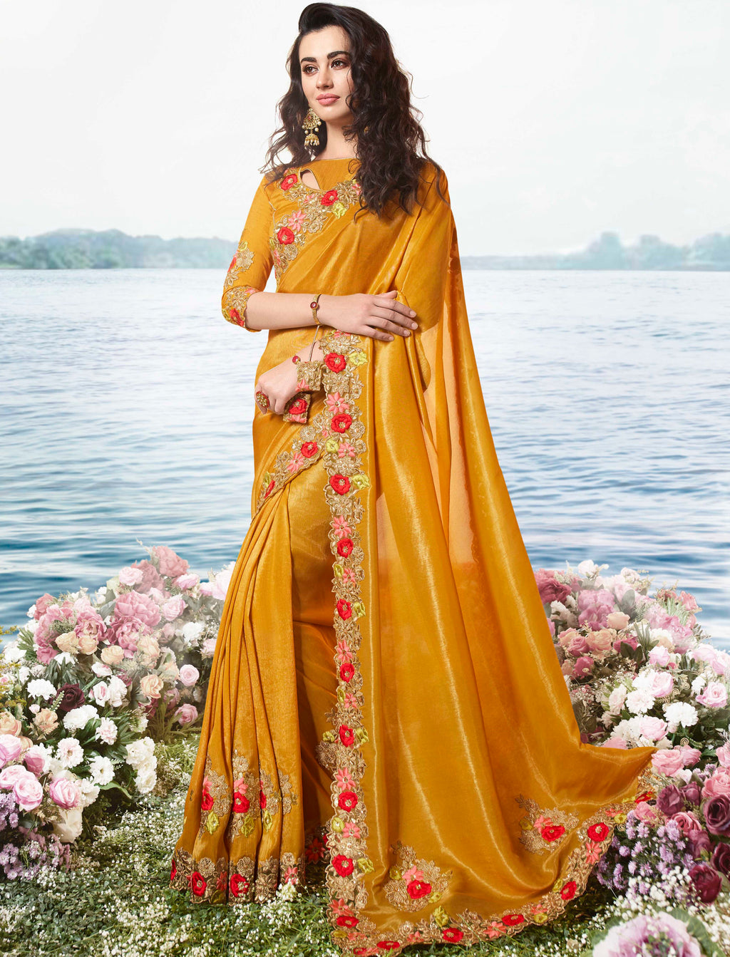 Mustard Yellow Color Tissue Silk Embroidered Wedding Function Sarees NYF-7313
